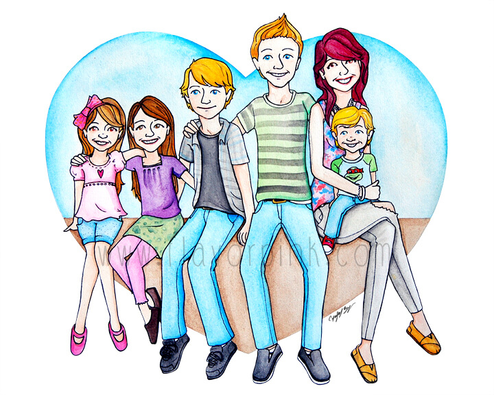 Watercolor Painting of Six Kids